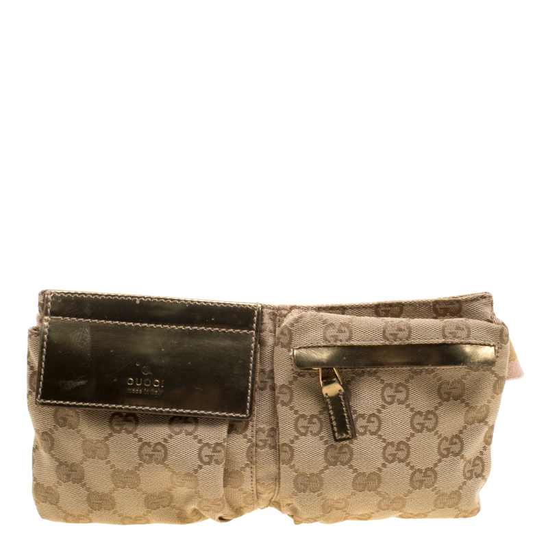 ca5c912dced Gucci Gold GG Canvas Small Waist Belt Bag