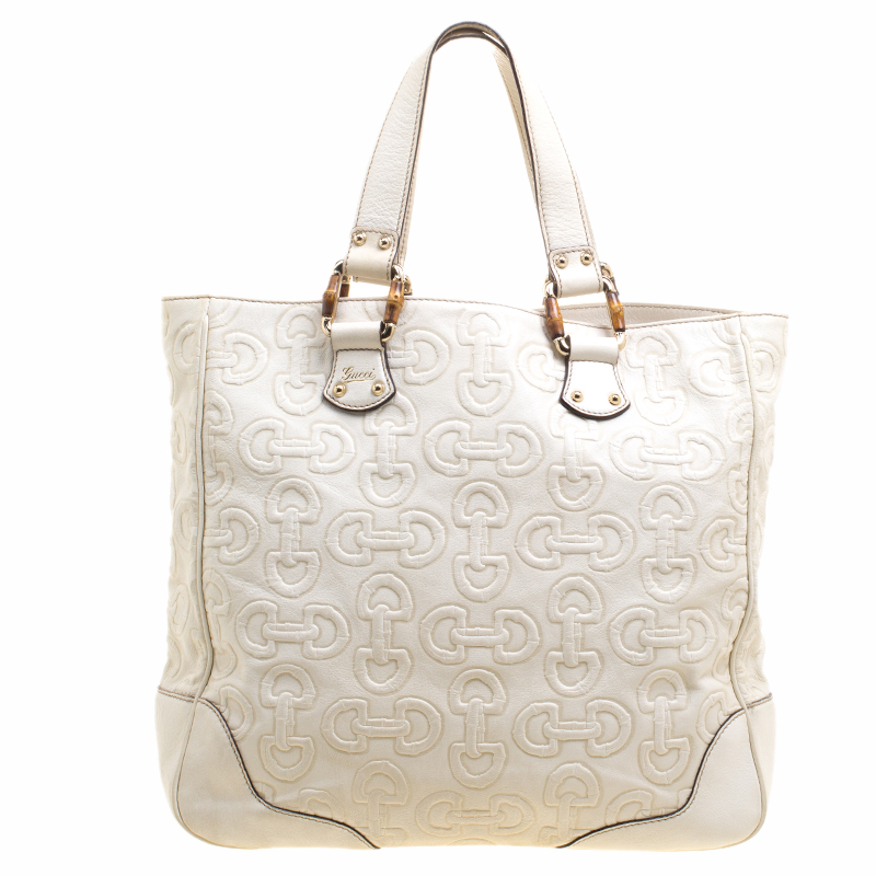 80d6e365582 Buy Gucci White Horsebit Embossed Leather Tote 119546 at best price ...