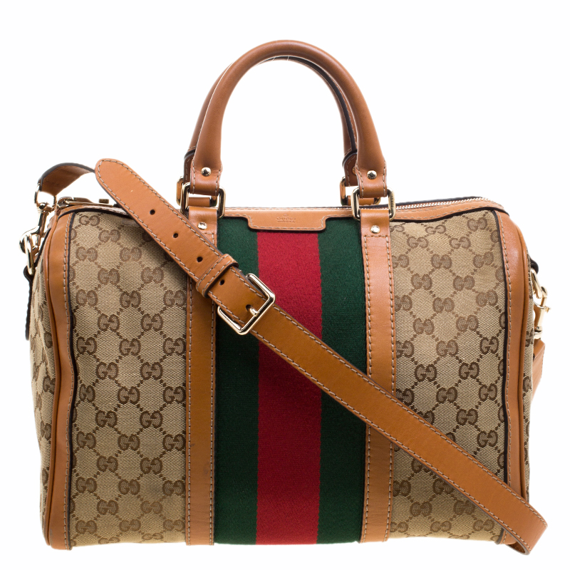 5a2b68b3f36 ... Gucci Beige Tan GG Canvas Medium Vintage Web Boston Bag. nextprev.  prevnext