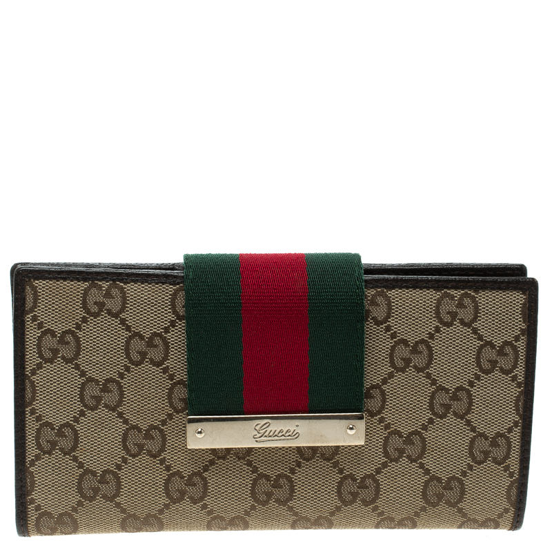 d0372233bb99 Buy Gucci Beige/Brown GG Canvas Web Continental Wallet 120715 at ...