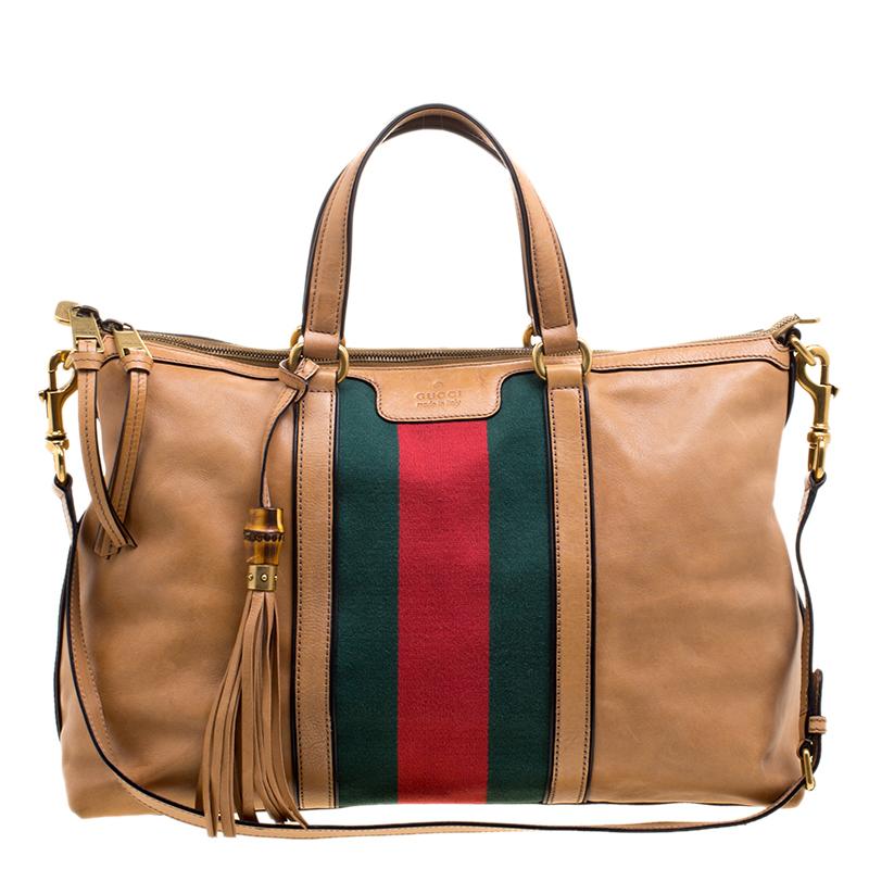 df62b03add17e5 Buy Gucci Light Brown Leather Web Rania Top Handle Bag 120927 at ...