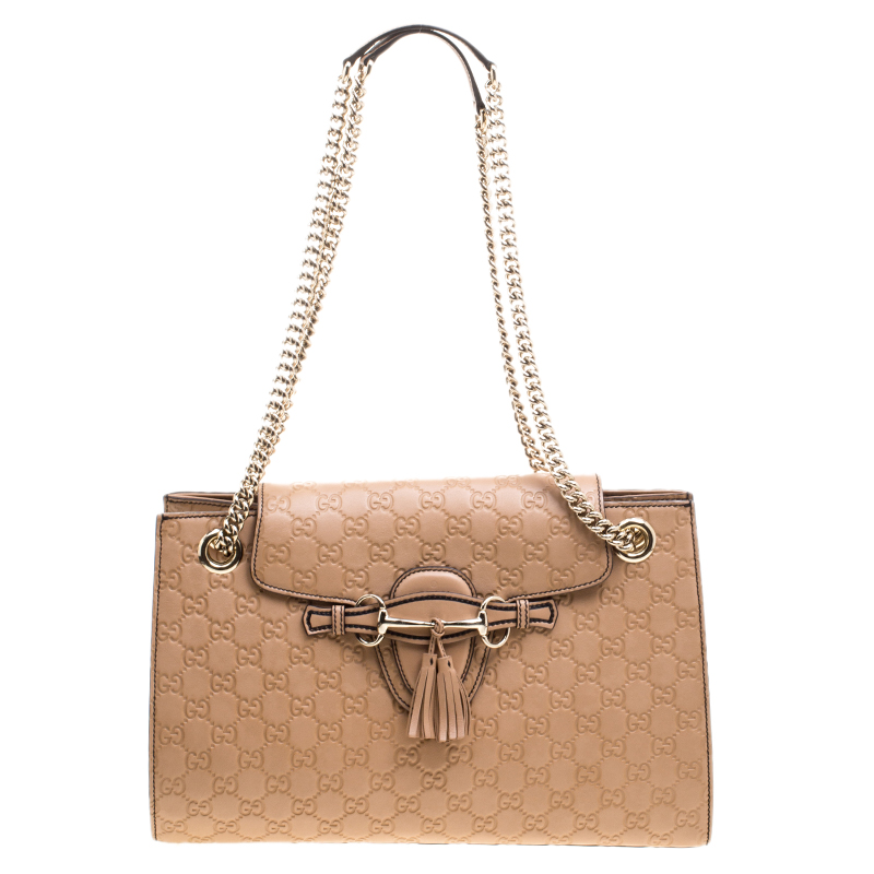 787aec278ac1 ... Gucci Light Brown Guccissima Leather Large Emily Chain Shoulder Bag.  nextprev. prevnext