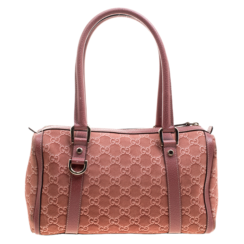 dde5aa9fb5fec2 Buy Gucci Brown GG Suede Small Abbey Boston Bag 123436 at best price ...