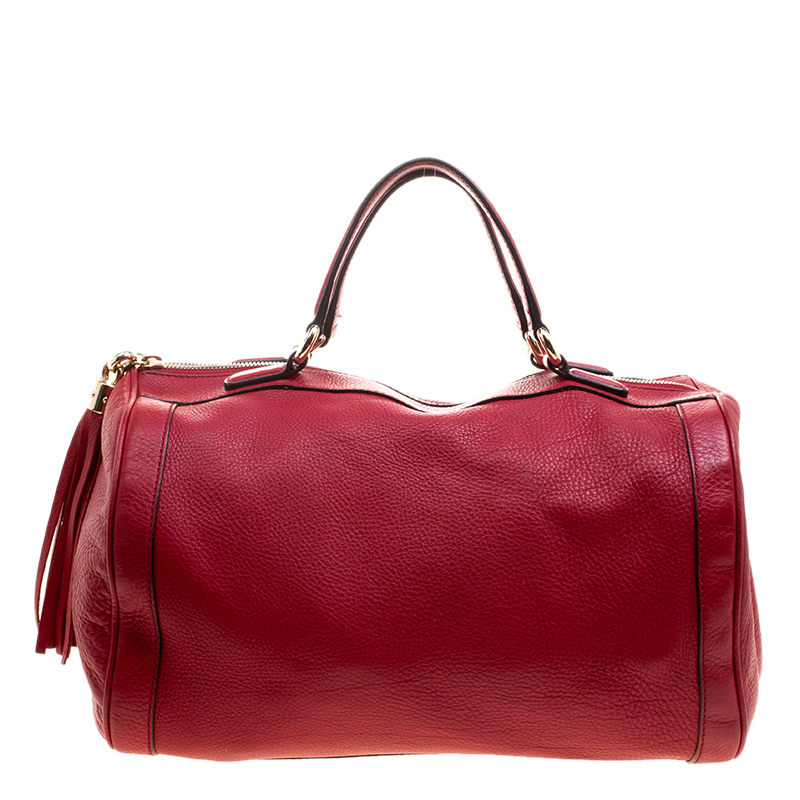 27ccd5a9b1 Gucci Red Pebbled Leather Soho Boston Bag