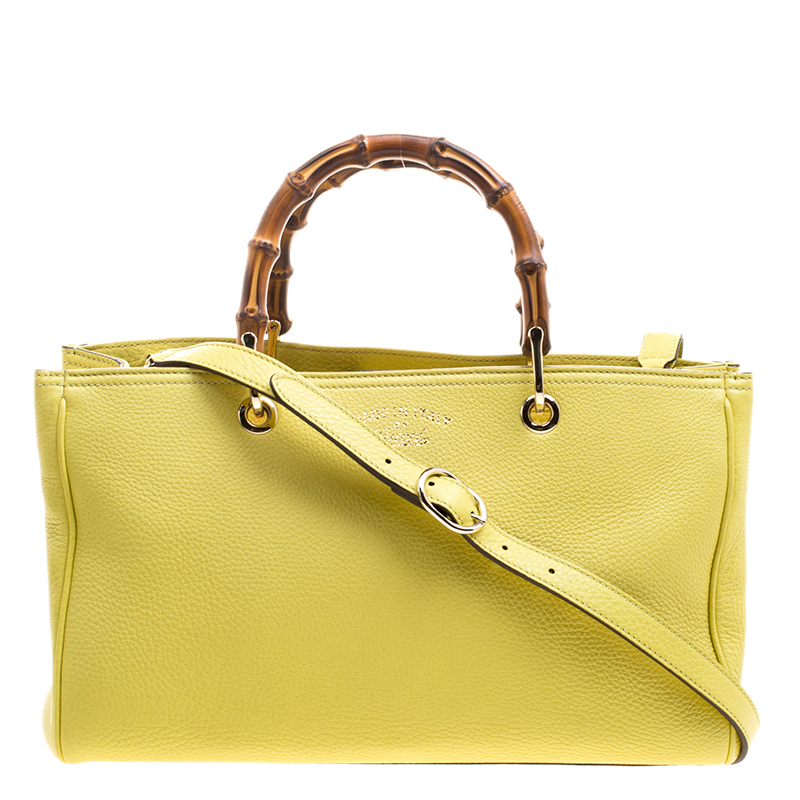 3d62a376fdfb Buy Gucci Yellow Leather Bamboo Top Handle Shopper Tote 123692 at ...