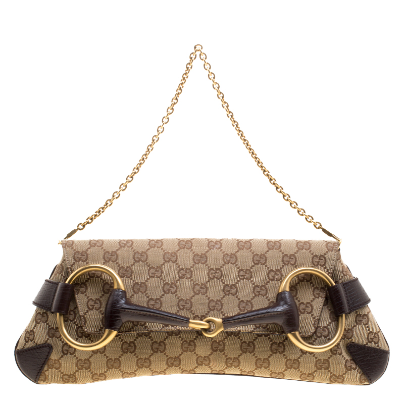 ed03c1f0c84 Buy Gucci Brown GG Canvas Horsebit Chain Clutch 124223 at best price ...