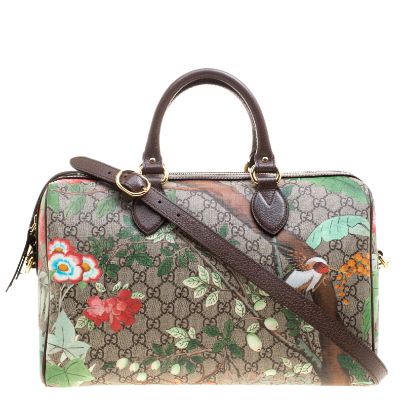486c1ab44 Buy Gucci Beige/Brown Tian Print GG Supreme Canvas Medium Boston Bag ...