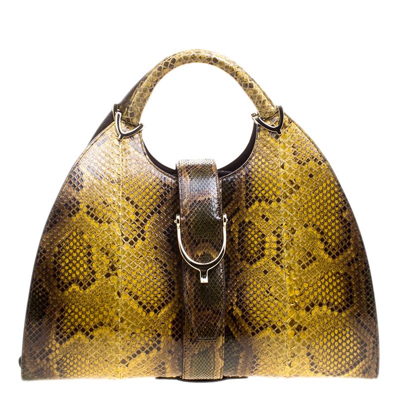 Gucci Yellow/Brown Python Top Handle Bag