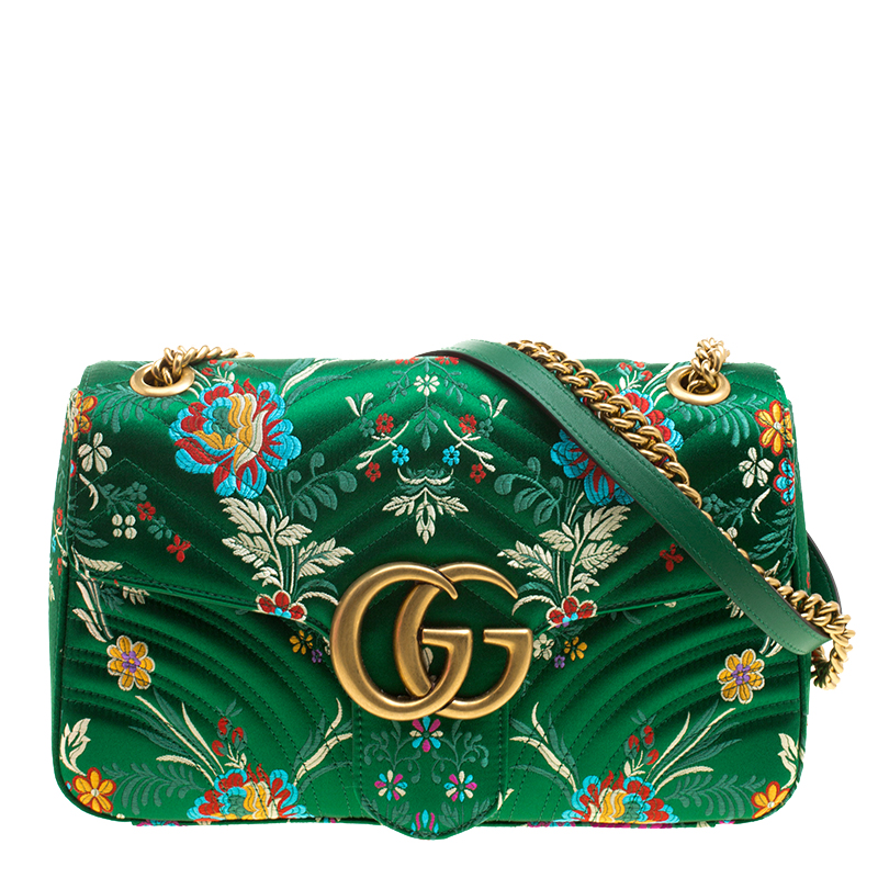 40a6c998f ... Gucci Green Floral Print Satin GG Marmont Shoulder Bag. nextprev.  prevnext