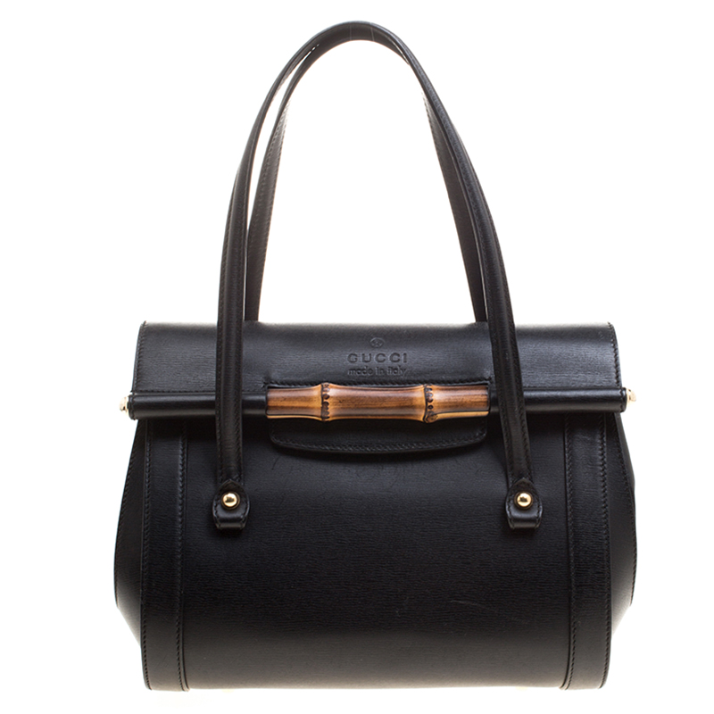 ea7192b4ed2f Gucci Black Leather Small Bamboo Top Handle Bag 126789 At Best