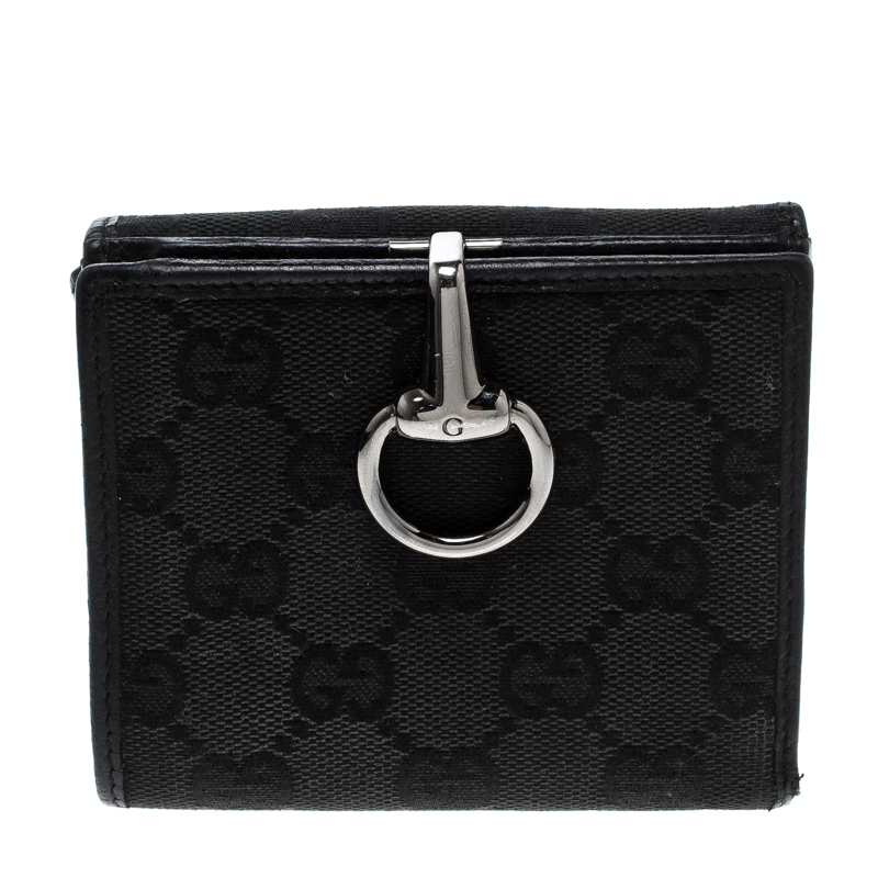 b90029649be Buy Gucci Black GG Canvas Horsebit Clasp Wallet 127188 at best price ...