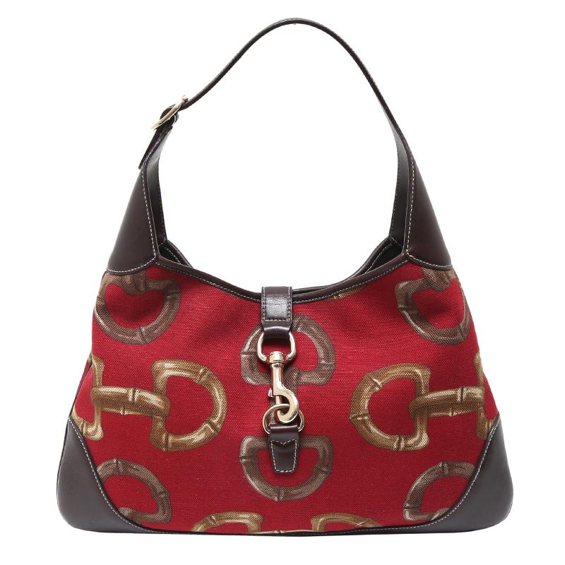 ddcd9b285cc ... Gucci Red Brown Horsebit Canvas Jackie O Bouvier Shoulder Bag.  nextprev. prevnext