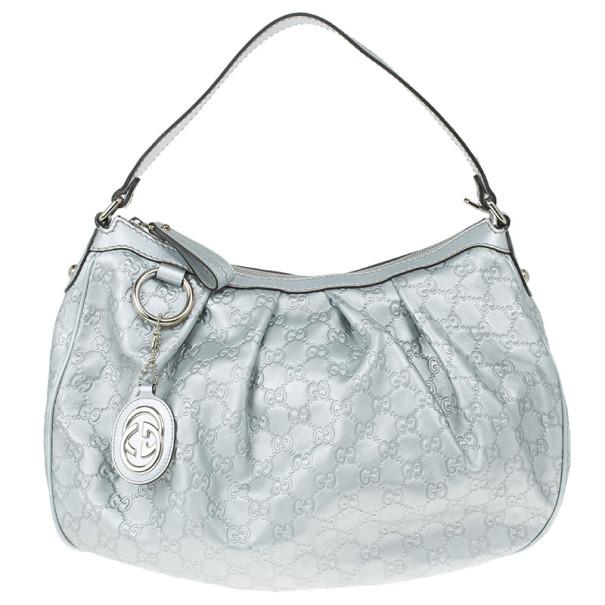 d28753c728b2 Buy Gucci Silver Guccissima Sukey Medium Tote 12876 at best price   TLC