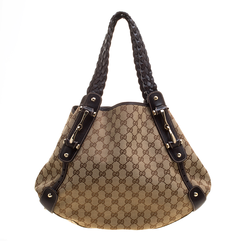 185aed8881cf Buy Gucci Beige/Ebony GG Canvas Medium Pelham Hobo 129205 at best ...