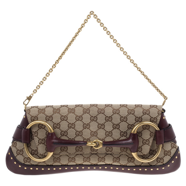 cb04410d597cdb ... Gucci Beige and Burgundy Canvas Monogram Horsebit Flap Clutch.  nextprev. prevnext