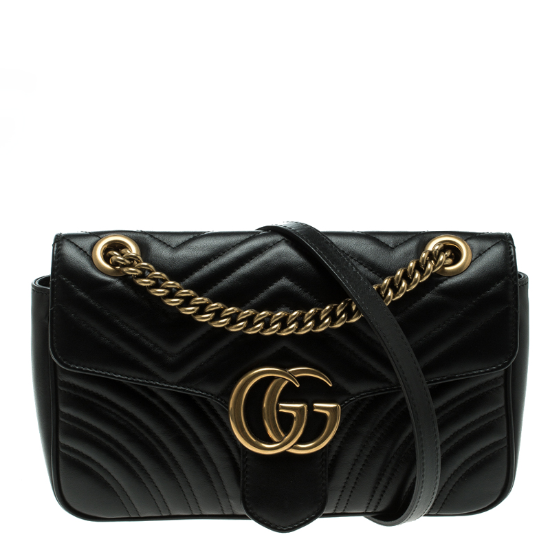 ff391a8f431b Buy Gucci Black Matelasse Leather Small GG Marmont Shoulder Bag ...