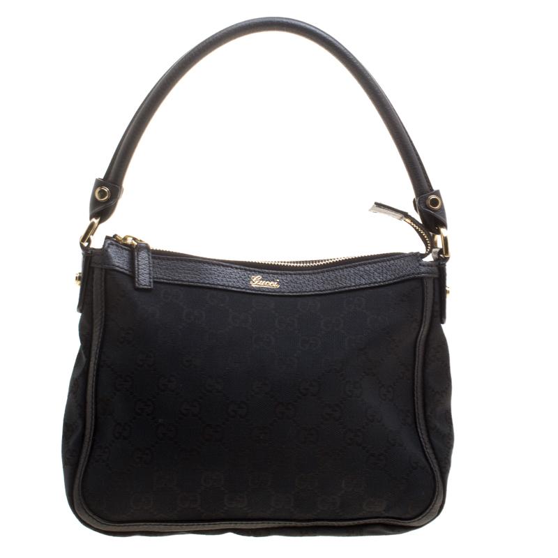 ed5016604c8 Buy Gucci Black GG Canvas Shoulder Bag 129519 at best price