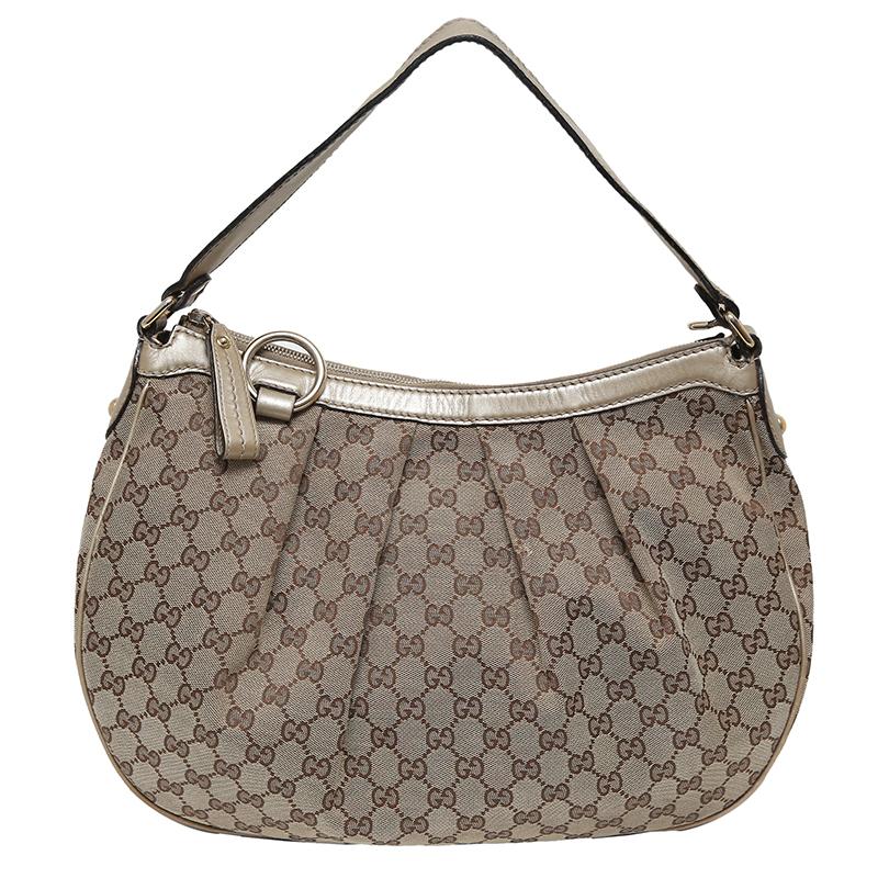 112defed33e Buy Gucci Beige Ebony GG Canvas Sukey Hobo 129674 at best price