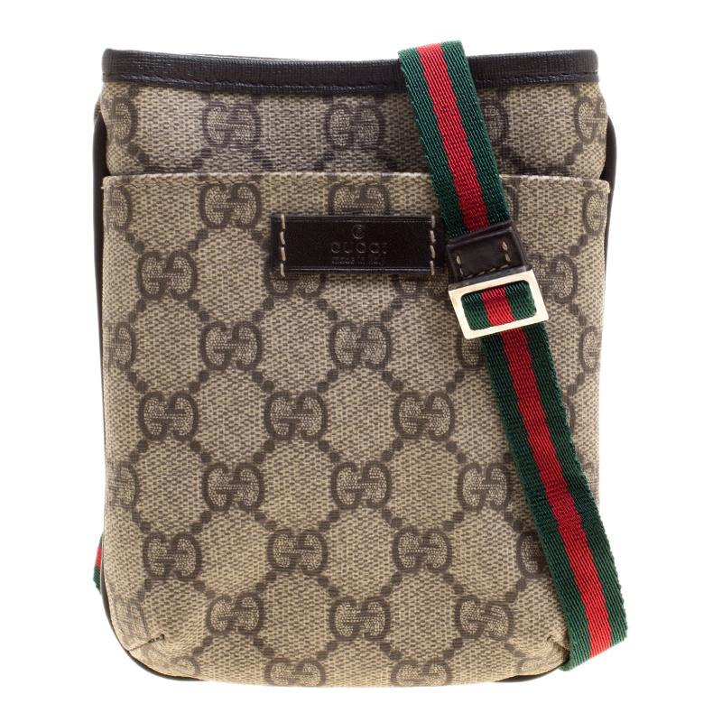 4020a81b31a Gucci Beige Supreme Canvas Web Crossbody Bag