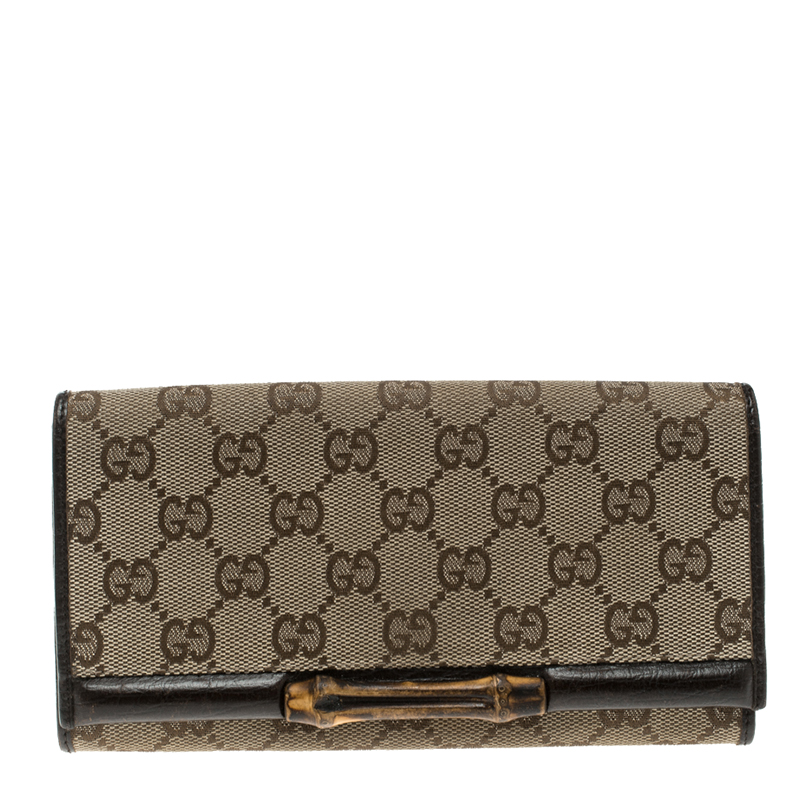 e03edf049e72 Buy Gucci Beige GG Canvas Bamboo Continental Wallet 129703 at best ...