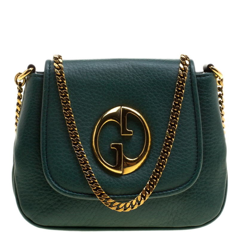 5015fcbdae2 Buy Gucci Green Leather Small 1973 Chain Crossbody Bag 129859 at ...