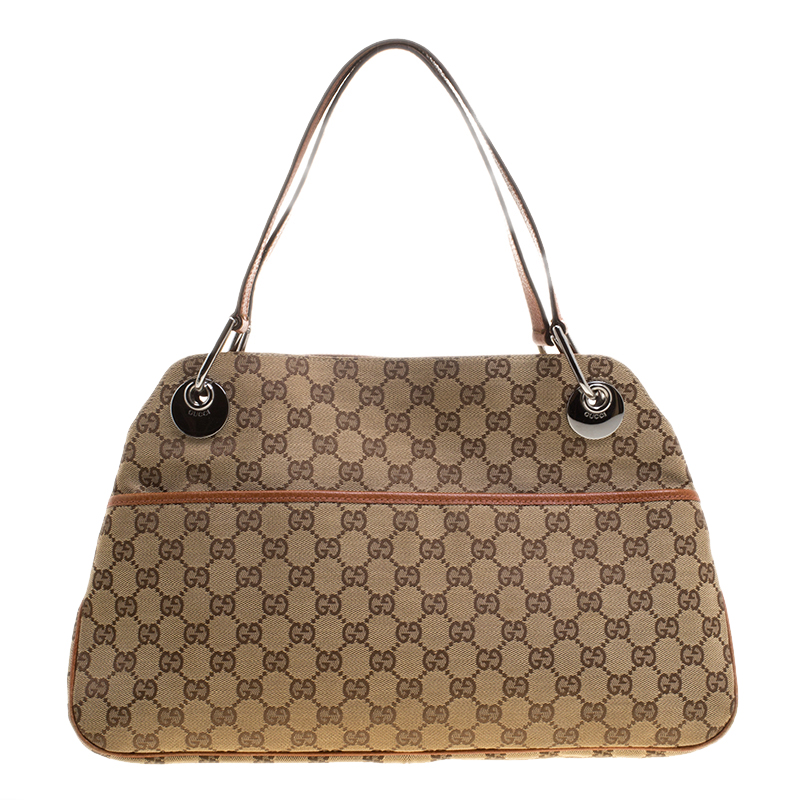 644ec2d23c0e Buy Gucci Beige Brown GG Canvas and Leather Eclipse Shoulder Bag ...