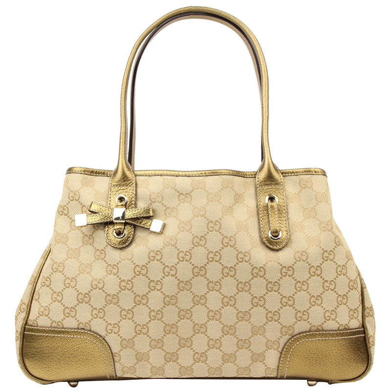 fed07ea444e Buy Gucci Beige Gold GG Canvas Princy Tote 130458 at best price
