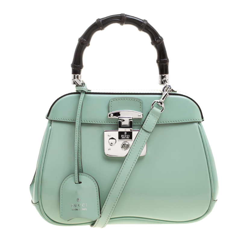 05da55df33bc Buy Gucci Mint Green Patent Leather Mini Lady Lock Bamboo Top Handle ...