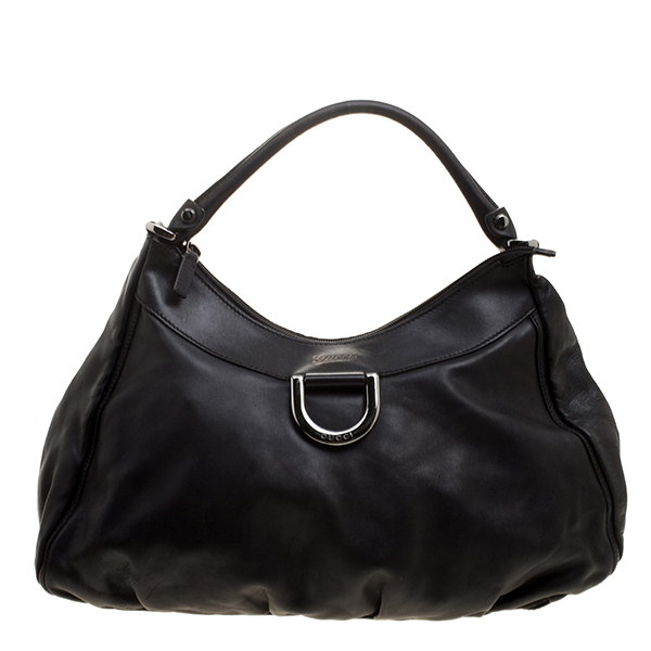 841b6c89d Buy Gucci Black Leather Large D Ring Hobo 130931 at best price | TLC