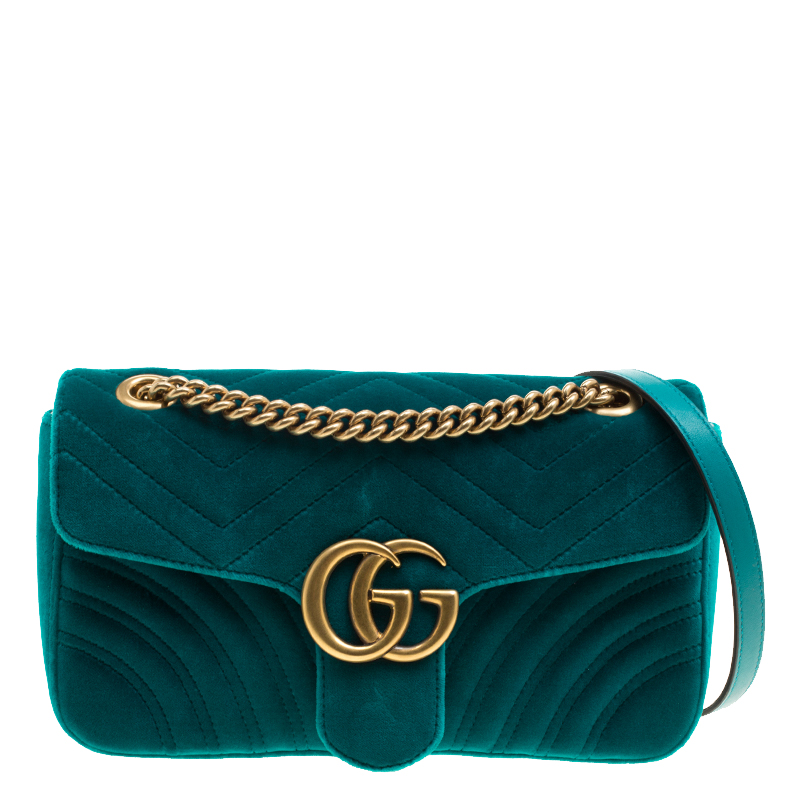 322d091f1adc Buy Gucci Blue Chevron Velvet Small GG Marmont Shoulder Bag 132955 ...