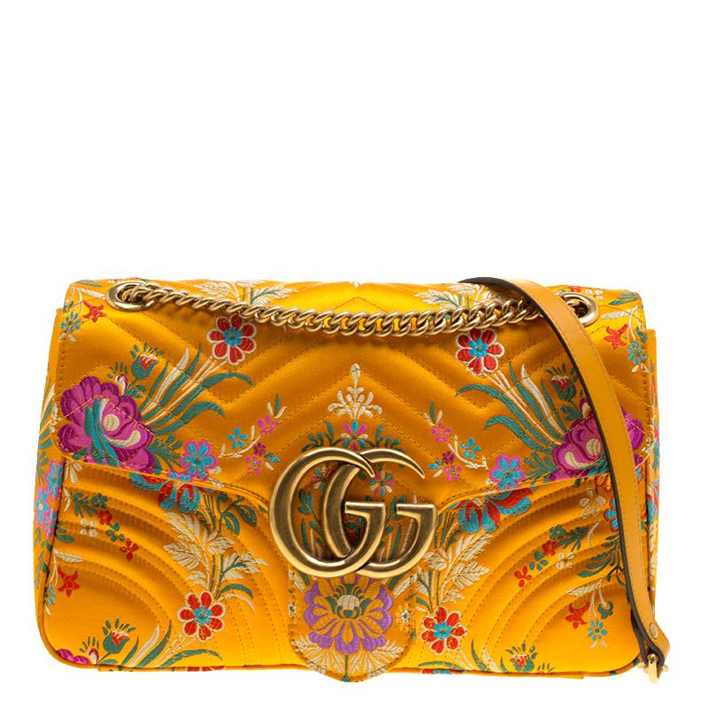 7714cd52f Buy Gucci Yellow Floral Print Satin GG Marmont Shoulder Bag 133111 ...