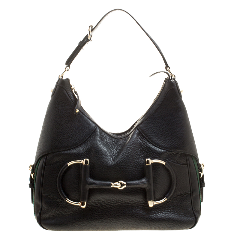 25e8e3b7b934 Buy Gucci Black Leather Small Web Horsebit Heritage Hobo 133594 at ...