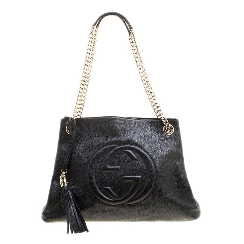 8a80bbb1ebb ... Gucci Black Pebbled Leather Medium Soho Tote. nextprev. prevnext