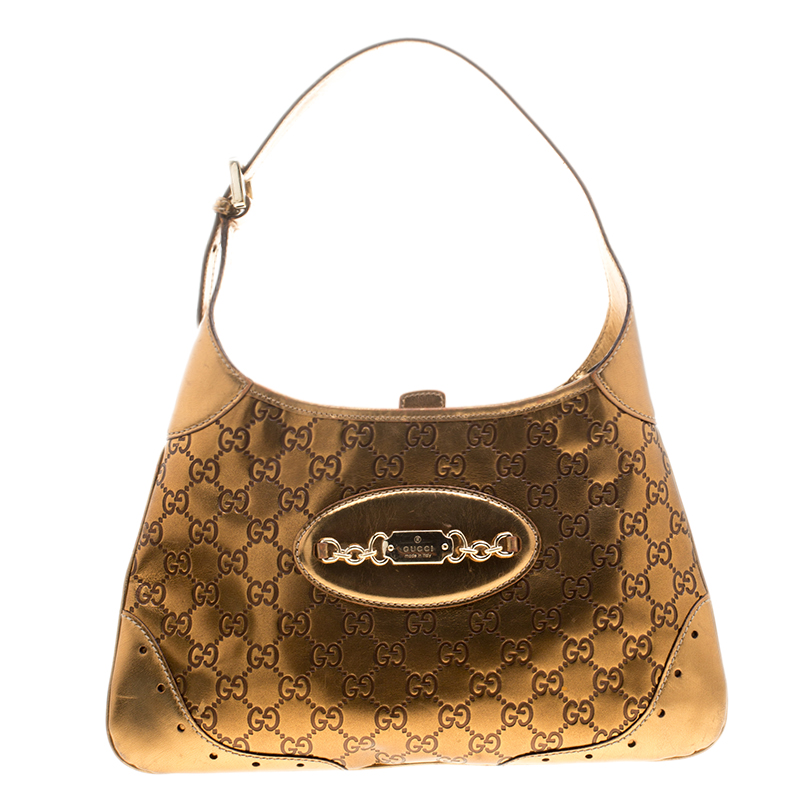 ba6bbdca7bd0ff Buy Gucci Metallic Bronze Guccissima Leather Punch Hobo 134114 at ...