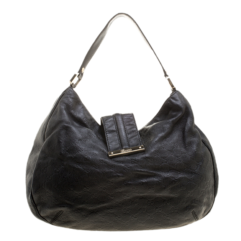 Gucci Black Guccissima Leather Large New Ladies Vintage Web Hobo