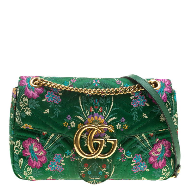 f5f9227341a3 Buy Gucci Green Floral Print Satin GG Marmont Shoulder Bag 135819 at ...