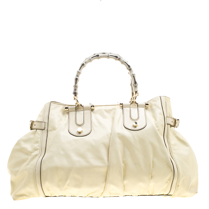 0f650483dc ... Gucci Cream Leather Large Pop Bamboo Handle Tote Bag. nextprev. prevnext