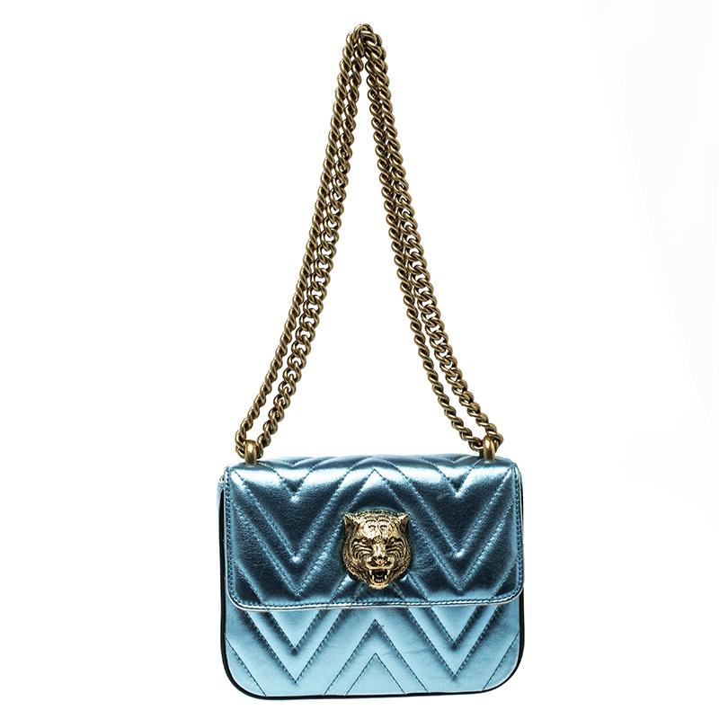 35ad79472e1a6c ... Gucci Metallic Light Blue Chevron Leather Broadway Tiger Head Flap Shoulder  Bag. nextprev. prevnext