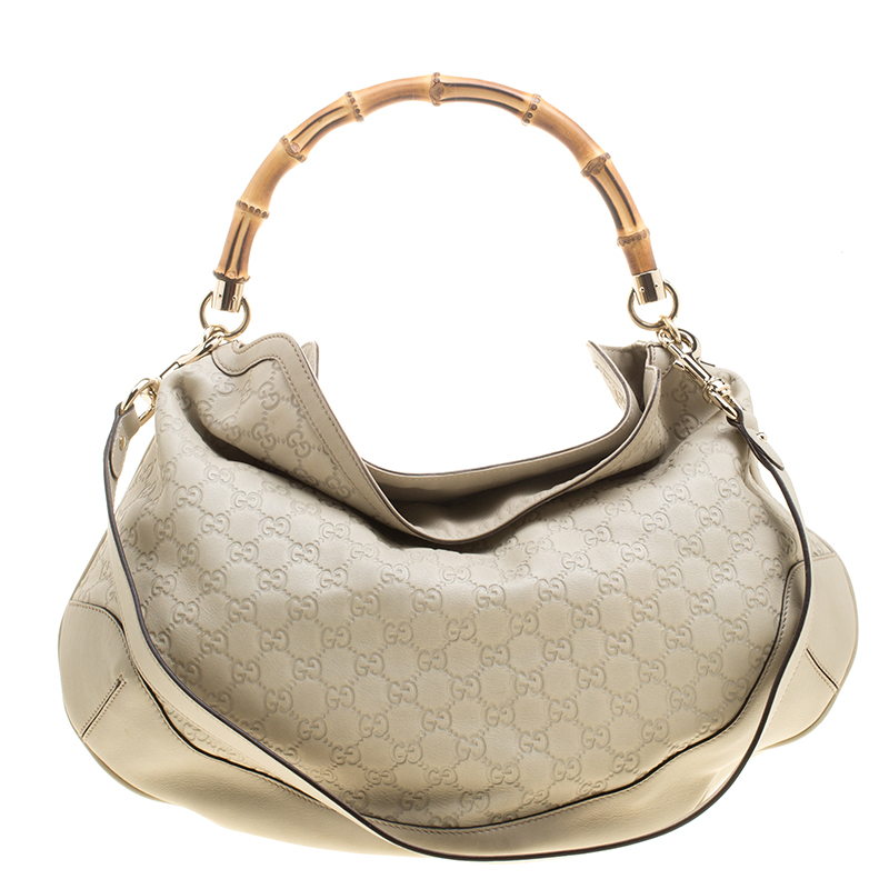 ac2b4d03ebf4 ... Gucci Off White Guccissima Leather Peggy Bamboo Top Handle Bag.  nextprev. prevnext