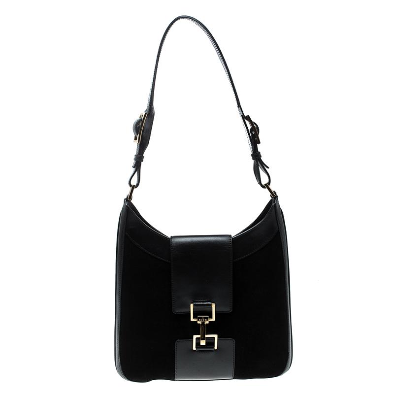 b85889afda6 ... Gucci Black Suede And Leather Vintage Shoulder Bag. nextprev. prevnext