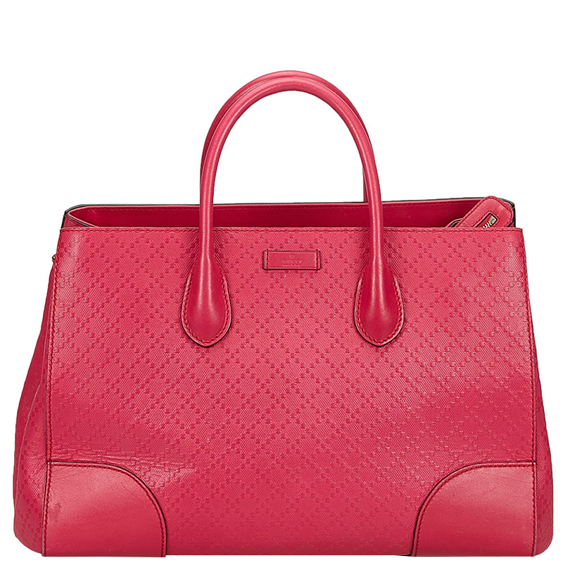 28a5b09ad2b Gucci Pink Diamante Textured Leather Top Handle Satchel Bag