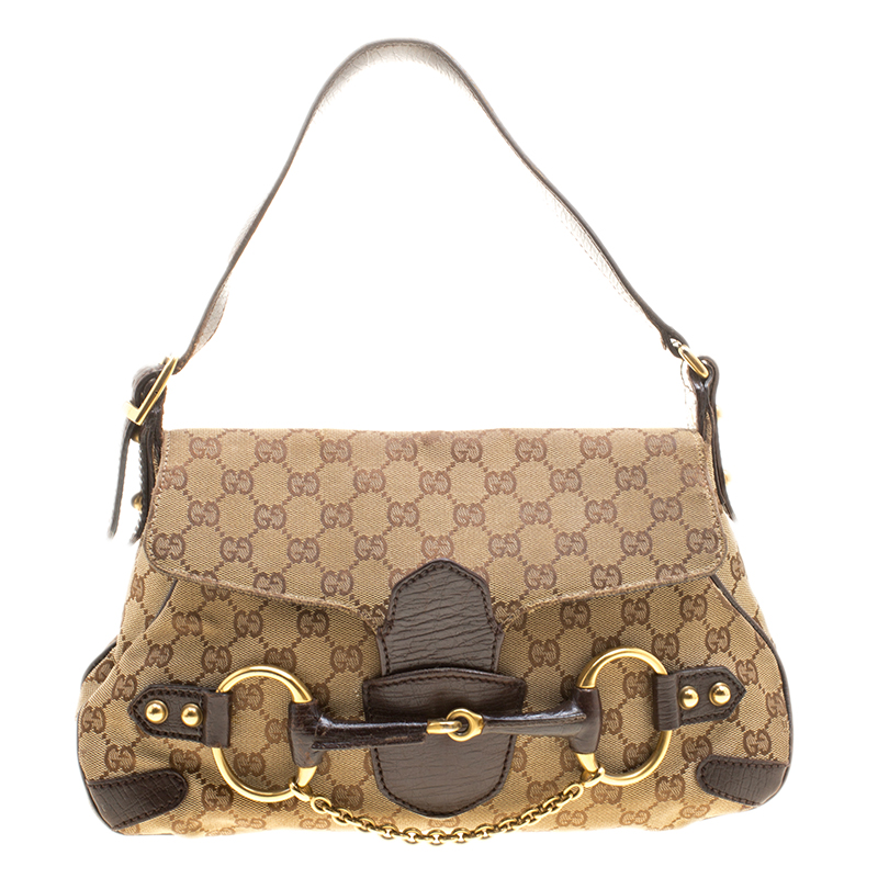 5b54e3d43c38a Buy Gucci Beige GG Canvas Horsebit Shoulder bag 138296 at best price ...
