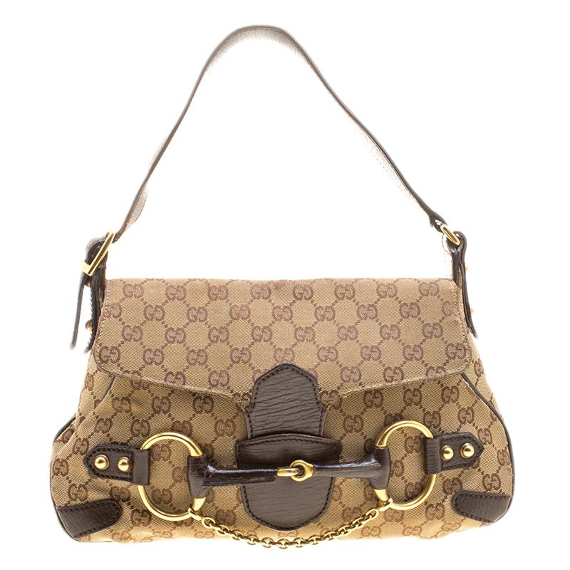 006bf20df4d Buy Gucci Beige GG Canvas Horsebit Shoulder bag 138296 at best price | TLC