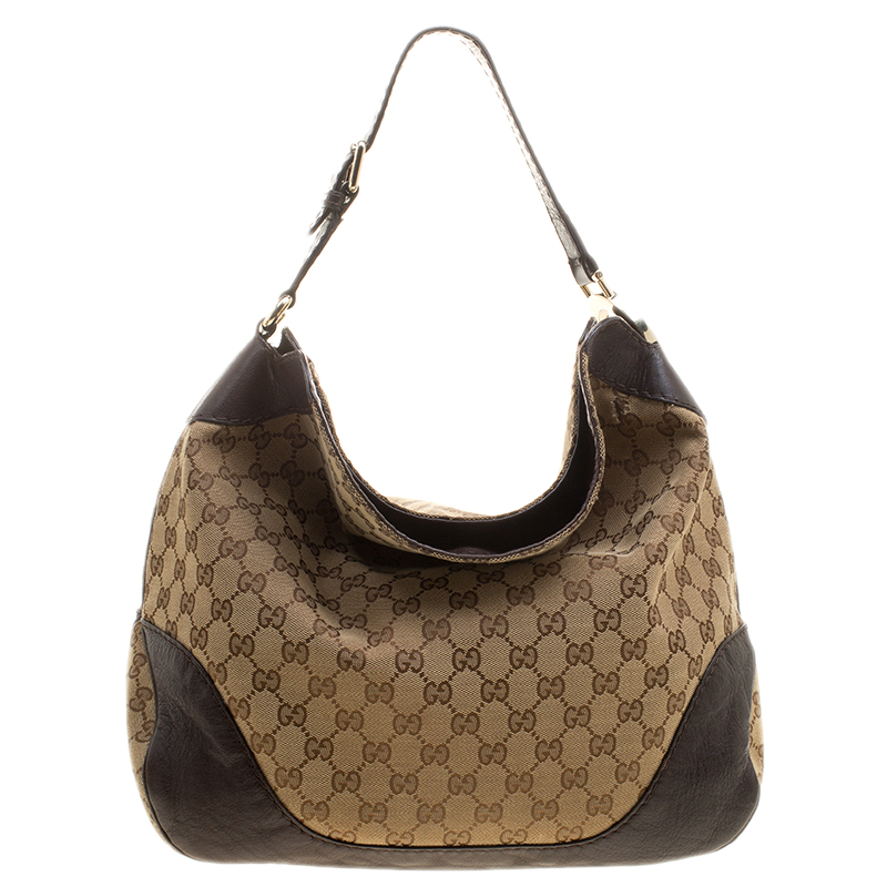 b7e10a324 ... Gucci Beige/Brown GG Canvas and Leather Medium Charlotte Hobo.  nextprev. prevnext