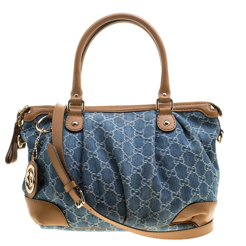 088dac334 ... Gucci Blue/Tan Denim GG and Leather Medium Sukey Top Handle Tote Bag.  nextprev. prevnext