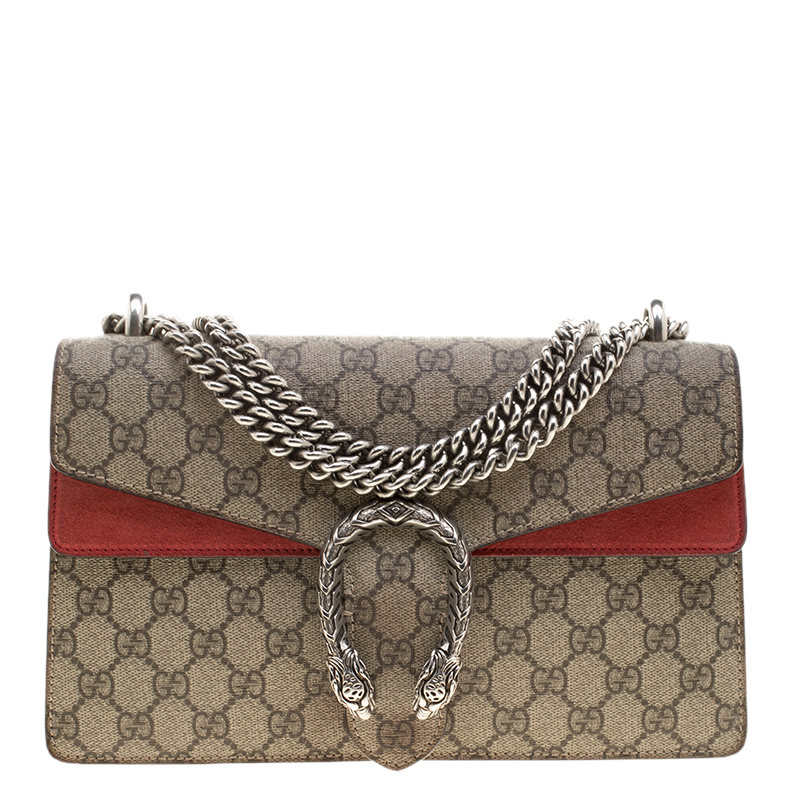 3b6ddb383f8 ... Gucci Beige Red GG Supreme Canvas and Suede Dionysus Shoulder Bag.  nextprev. prevnext