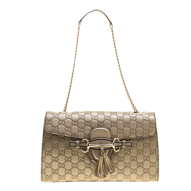 598fbc4f68f6d4 ... Gucci Metallic Gold Guccissima Leather Medium Emily Chain Shoulder Bag.  nextprev. prevnext