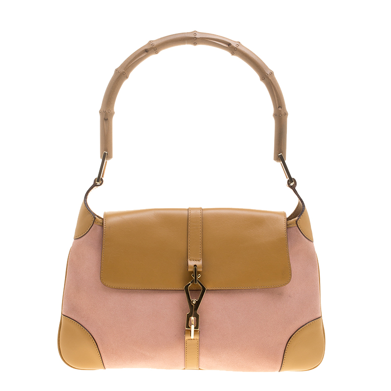 0d0a521d75b3 ... Gucci Light Pink Tan Suede and Leather Jackie Bamboo Shoulder Bag.  nextprev. prevnext