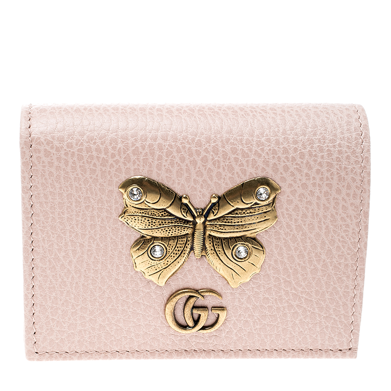 new york 8ed58 f42ce Gucci Blush Pink Leather Butterfly Emmbellished Card Case