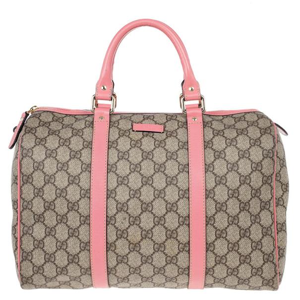 8a02ef33b46e18 Buy Gucci Pink Web Original GG Canvas Boston Bag 14243 at best price ...